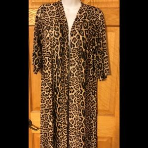 Crazy Train Leopard Print Kimono Duster Jacket 0S